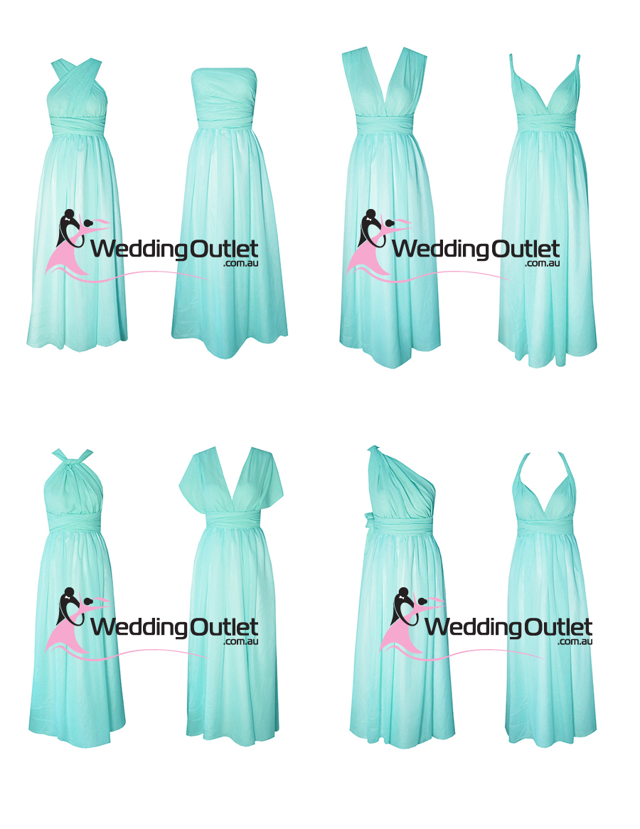 Tiffany Blue Aqua Wrap Bridesmaid Dresses