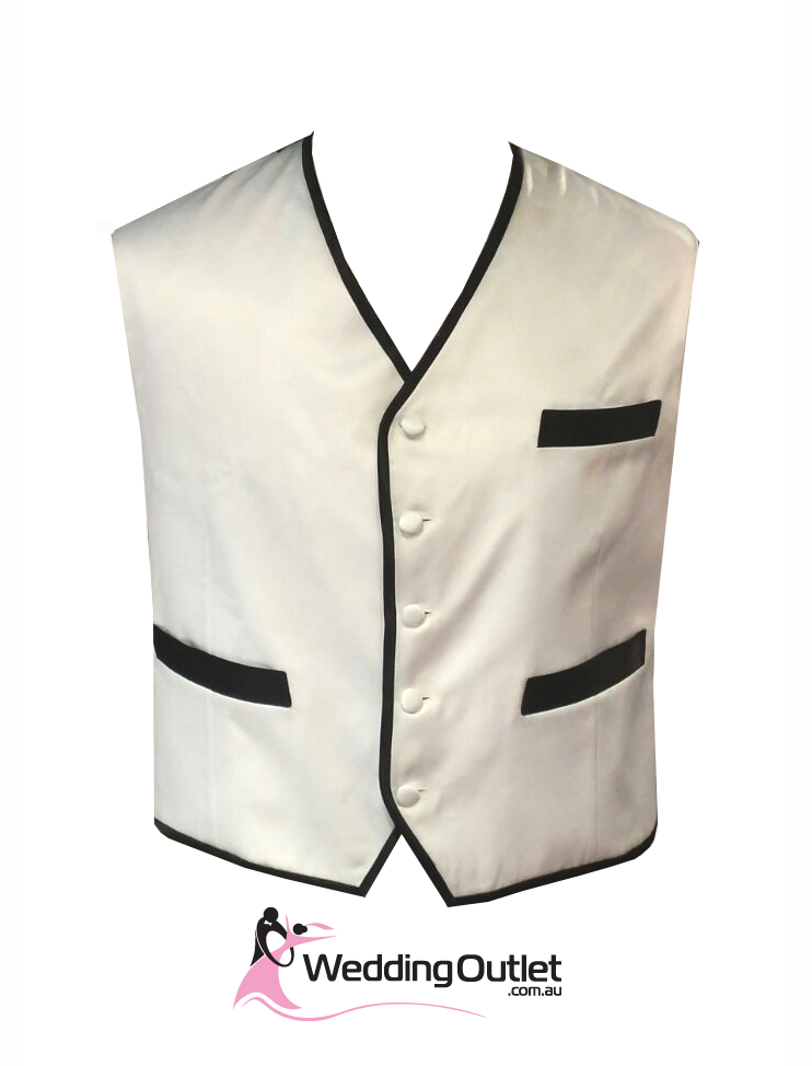 Men's black & white striped pattern vest with adjustable full back and 5 buttons. Matching ties sold separately. Sizes 2XL and up sold at additional cost.