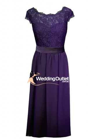 cadbury-purple-lace-cap-bridesmaid-dress