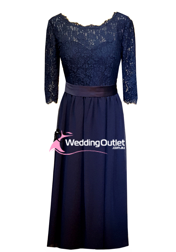 Navy Blue Lace Long Sleeve Bridesmaid Or Mother Bride Dress Style Ad1100