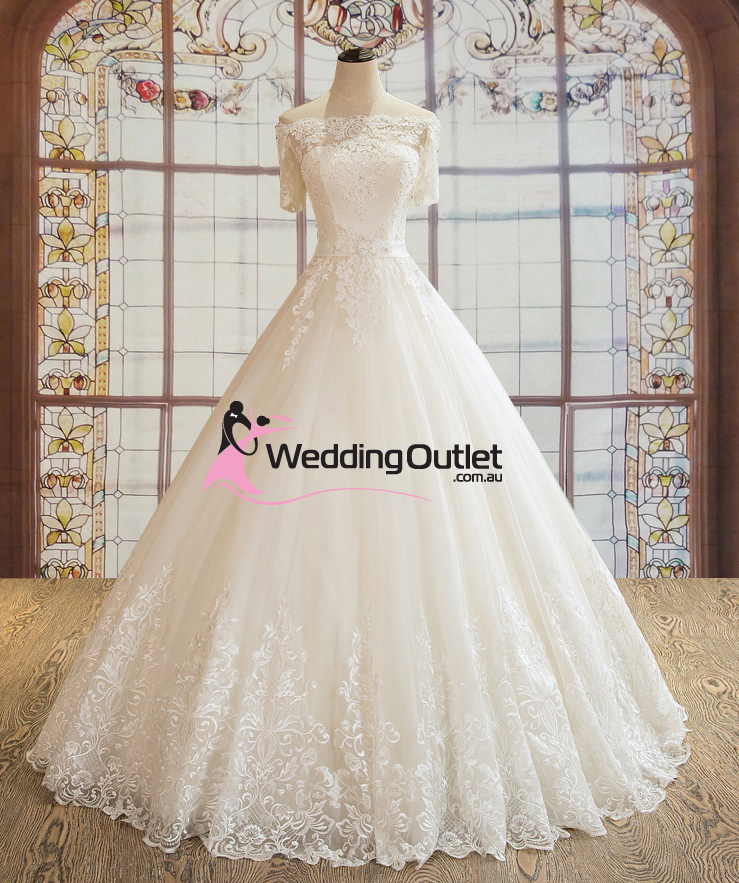 Princess Sleeve Off Shoulder Wedding Gown Paisley